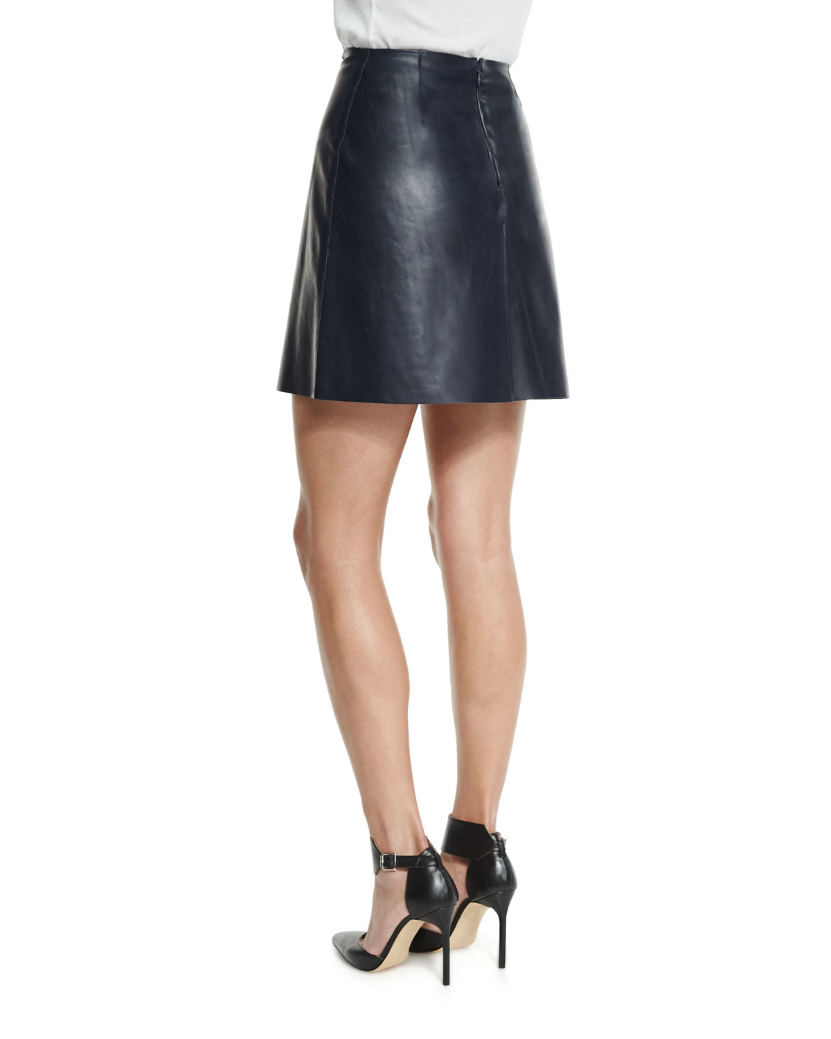 adam lippes a line leather mini wrap skirt in blue lyst