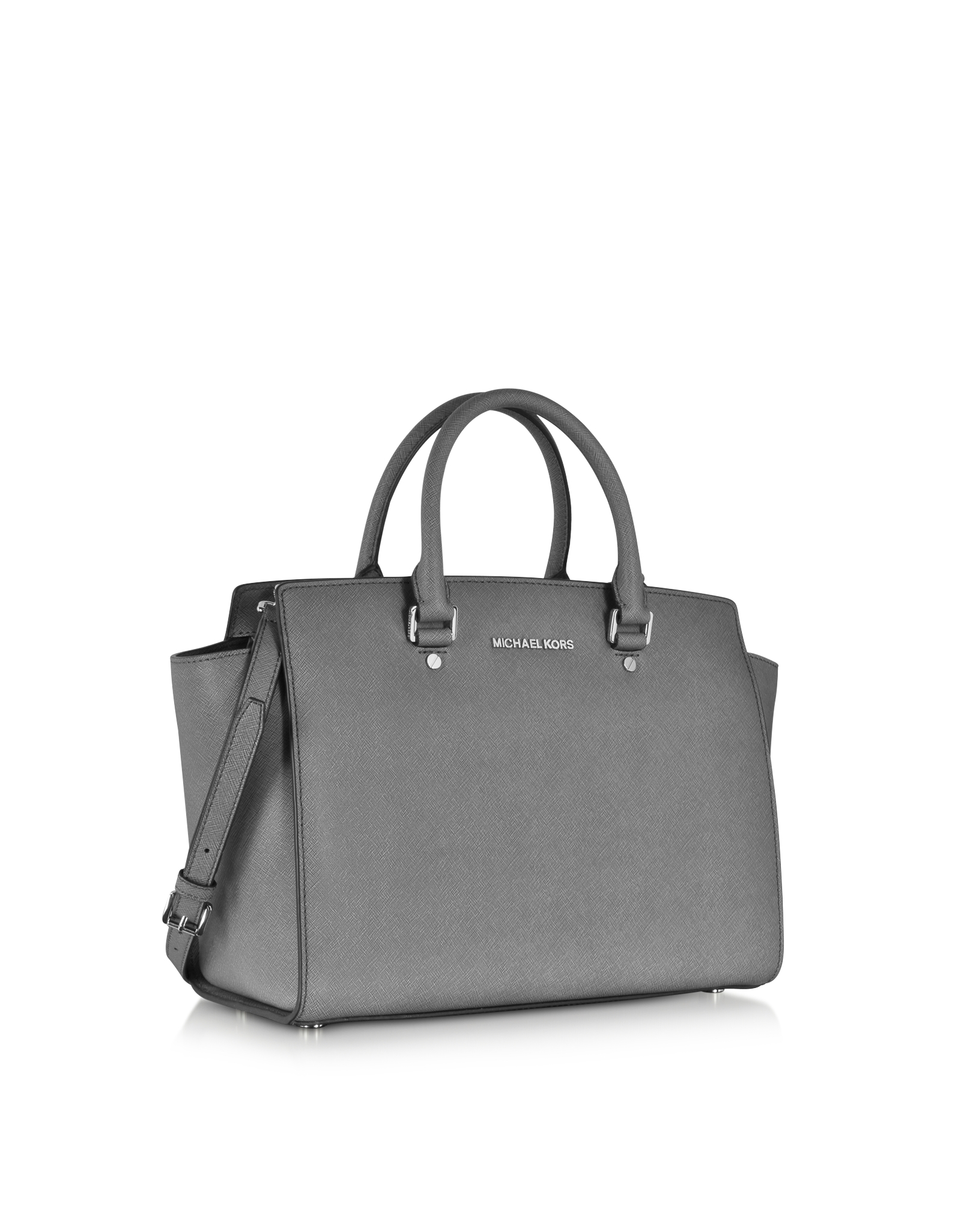 michael kors selma medium saffiano leather satchel in gray lyst rh lyst com au