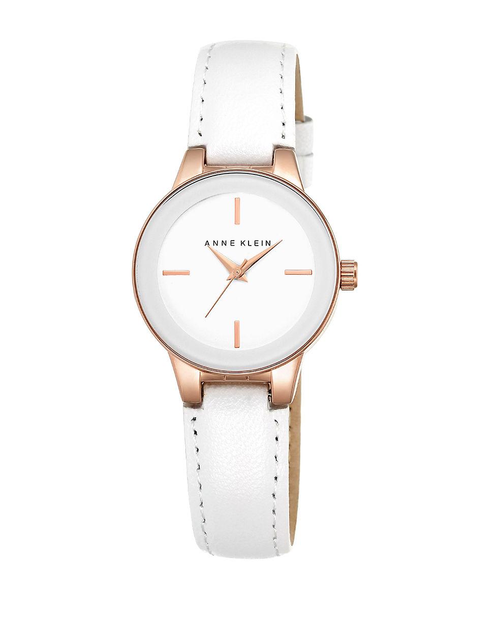 Lyst anne klein round leather strap bracelet watch in white for Anne klein leather strap