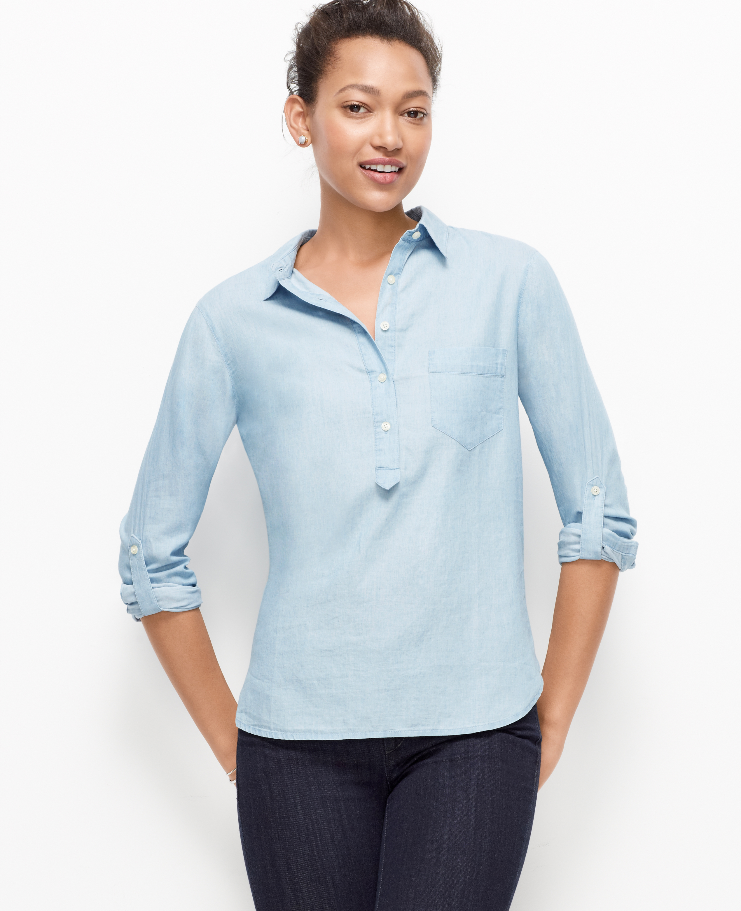 Ann taylor chambray popover shirt in blue lyst for Blue chambray shirt women s