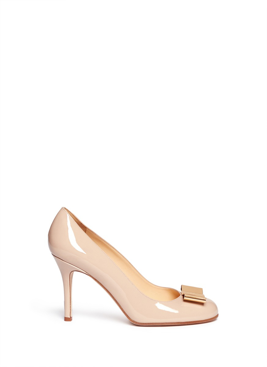 dc746351a61 Lyst - Kate Spade Karolina Metal Bow Patent Leather Pumps in Pink