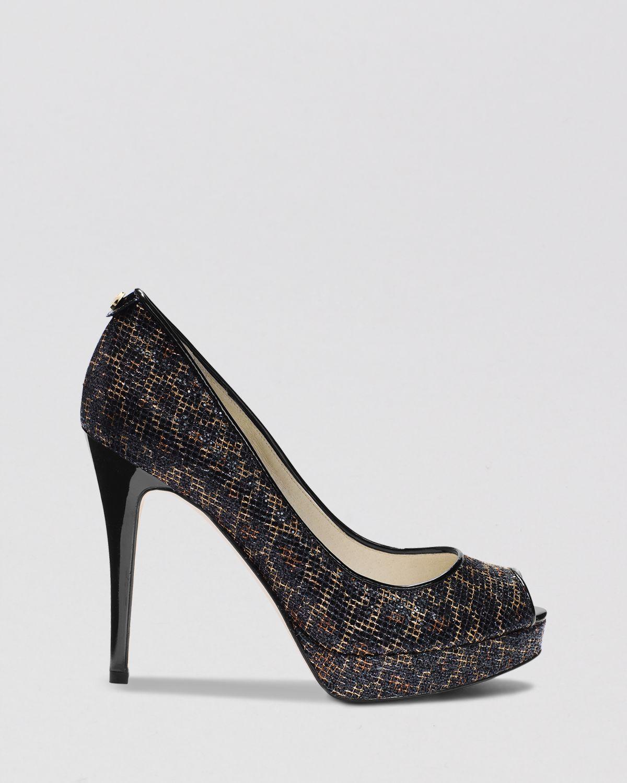 michael michael kors peep toe platform evening pumps york glitter high heel lyst. Black Bedroom Furniture Sets. Home Design Ideas
