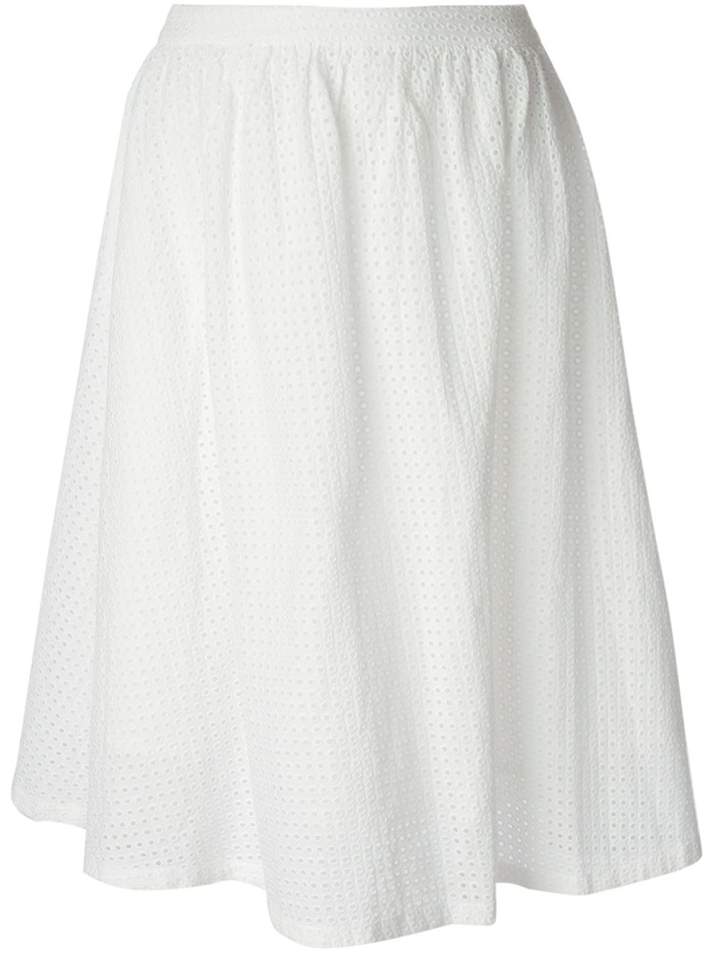 ymc high waist flared skirt in white lyst