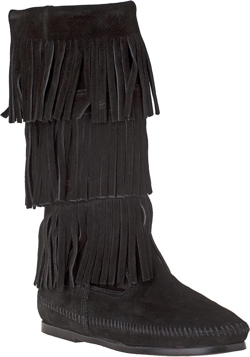 minnetonka fringe boot black suede in black lyst