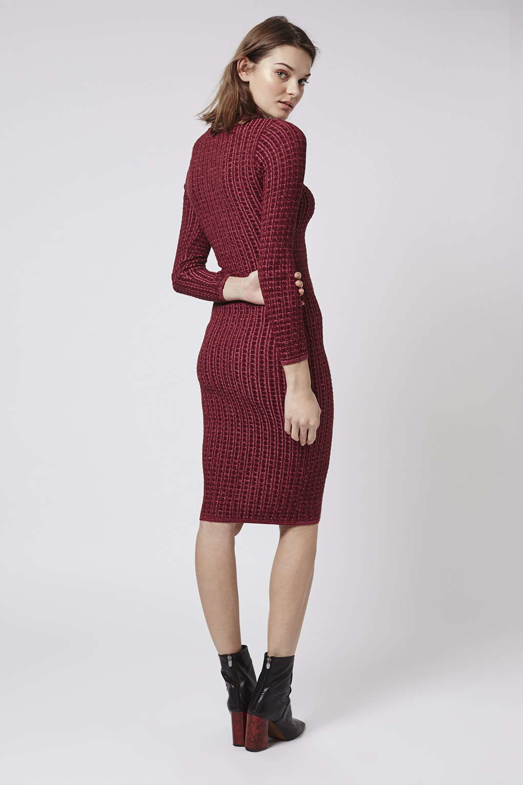 Lyst Topshop Knitted Midi Dress In Red