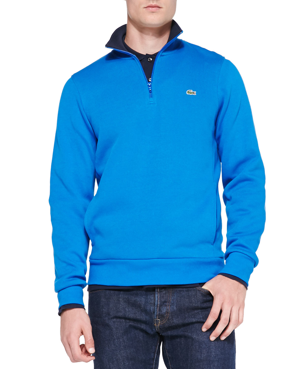 lacoste half zip pullover sweatshirt in blue for men lyst. Black Bedroom Furniture Sets. Home Design Ideas