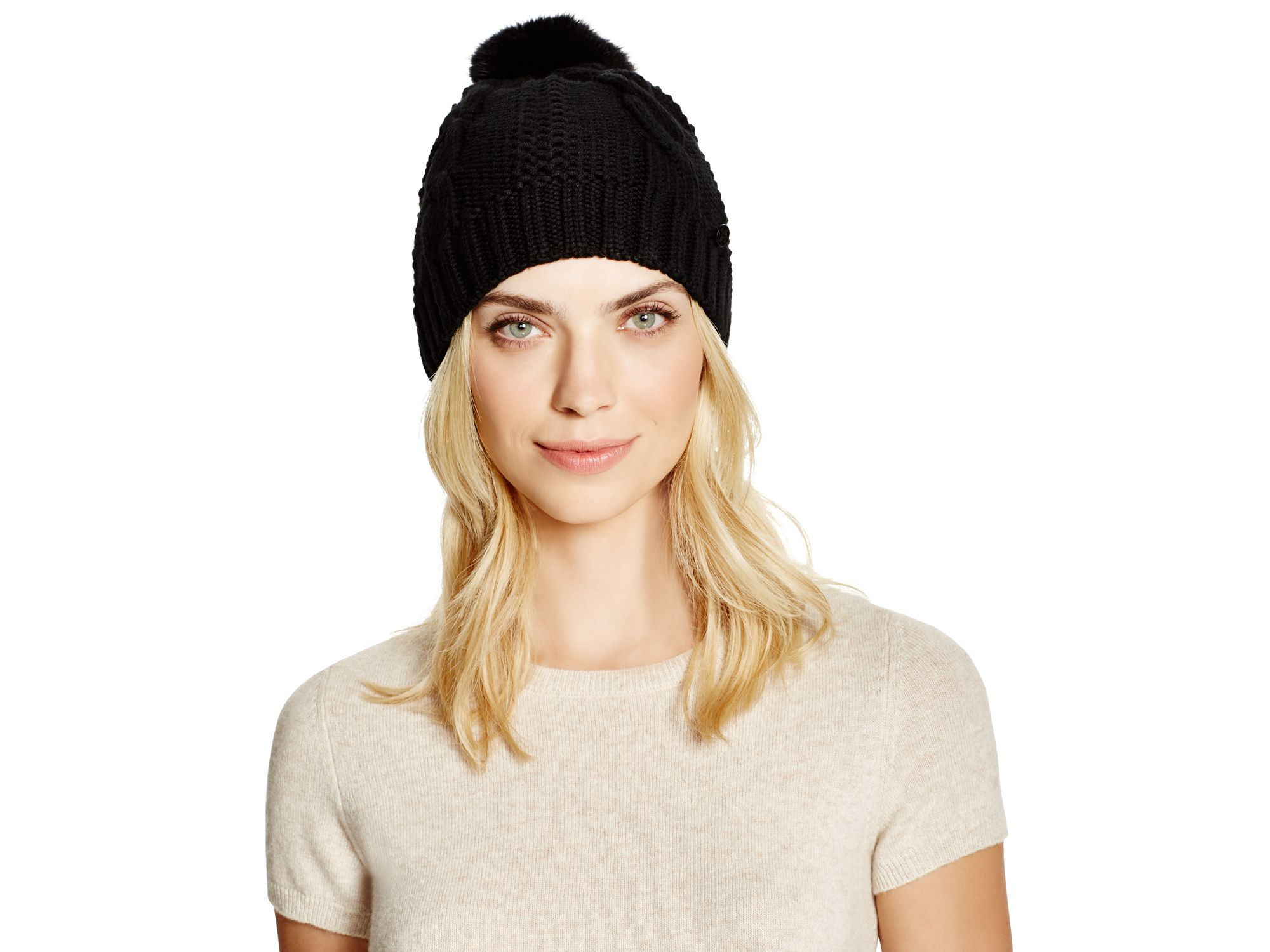 14135d5e1c5 Lyst - Tory Burch Cable Knit Beanie With Rabbit Fur Pom-pom in Black