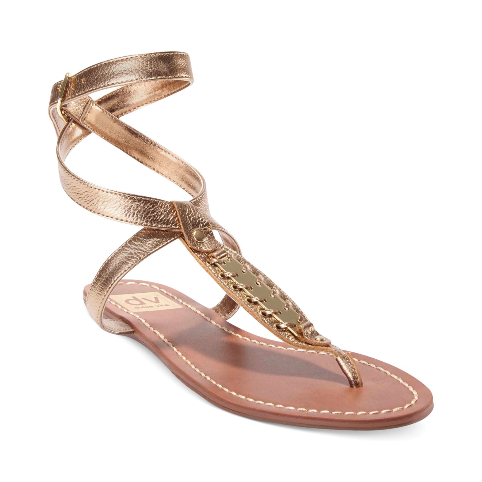 Lyst Dolce Vita Dv By Adryna Flat Thong Sandals In Metallic