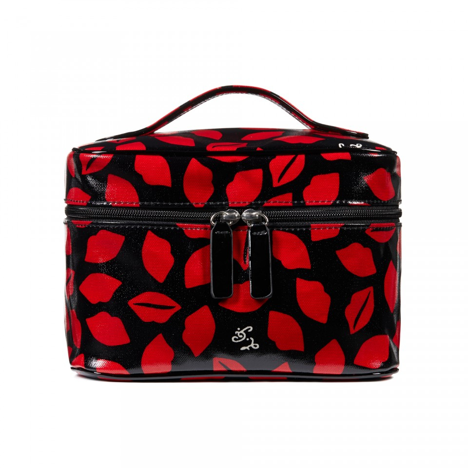 lulu guinness lips print laminate vanity case in red. Black Bedroom Furniture Sets. Home Design Ideas