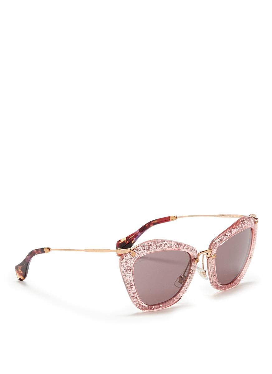 044d58c547f1 Gallery. Previously sold at  Lane Crawford · Women s Miu Miu Glitter  Women s Brown Sunglasses ...