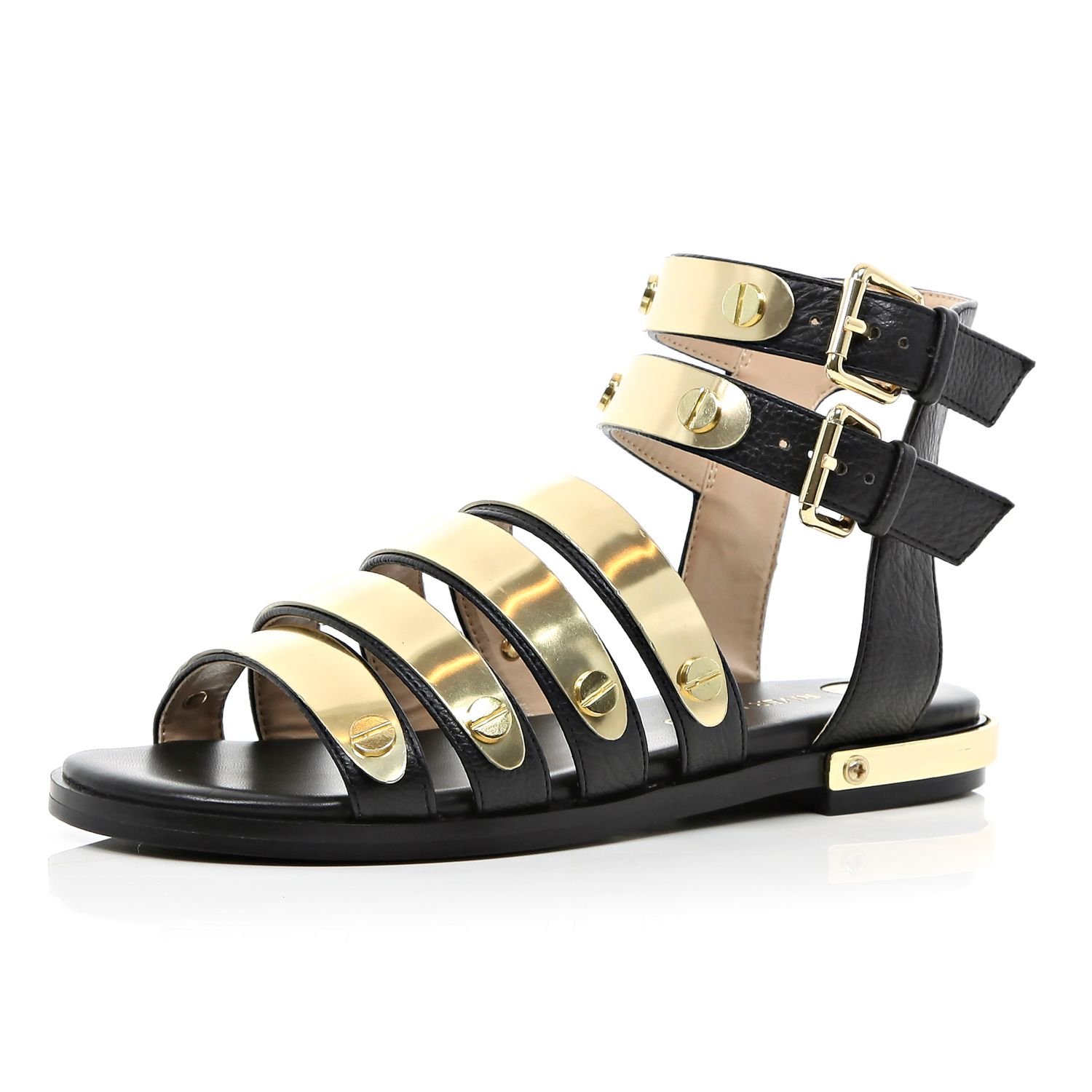 23842c5c679e River Island Black Metal Bar Strap Gladiator Sandals in Yellow - Lyst
