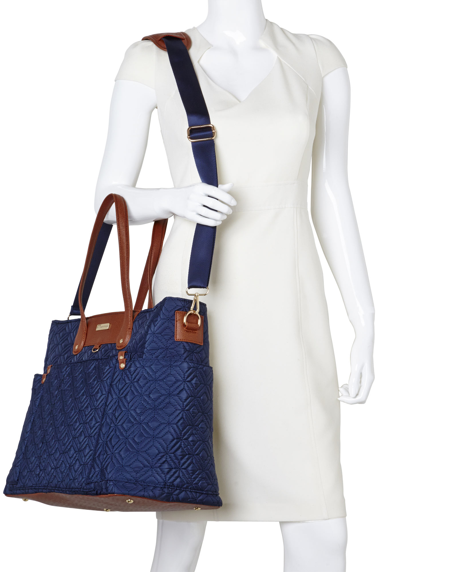 Adrienne vittadini Navy Quilted Laptop Tote in Blue   Lyst : quilted laptop tote - Adamdwight.com