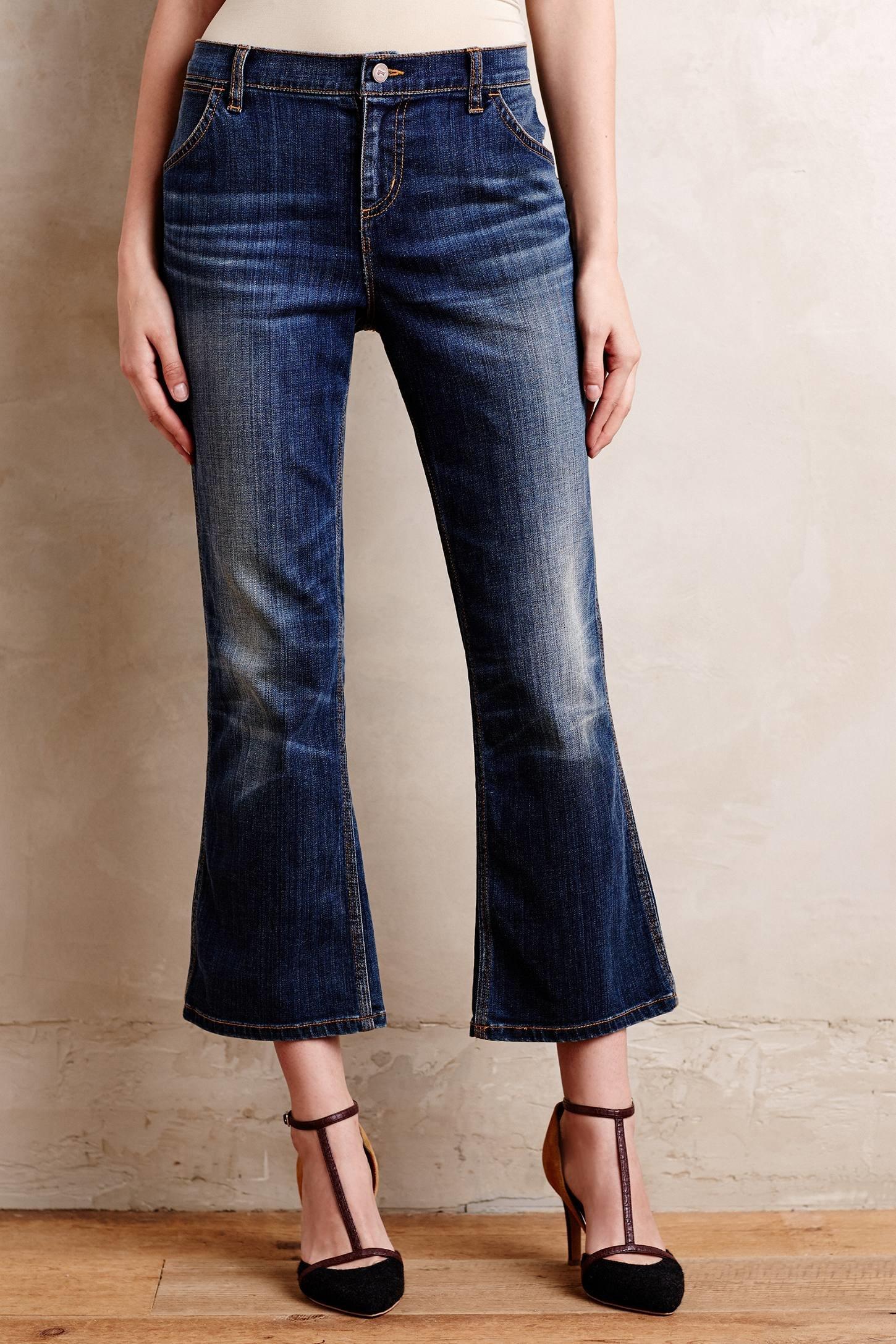 lyst pilcro stet cropped flare jeans in blue. Black Bedroom Furniture Sets. Home Design Ideas