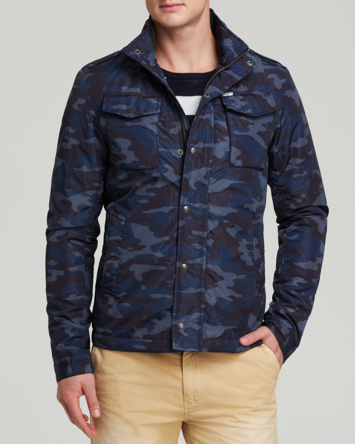 Scotch & soda Camo Nylon Military Jacket in Blue for Men | Lyst
