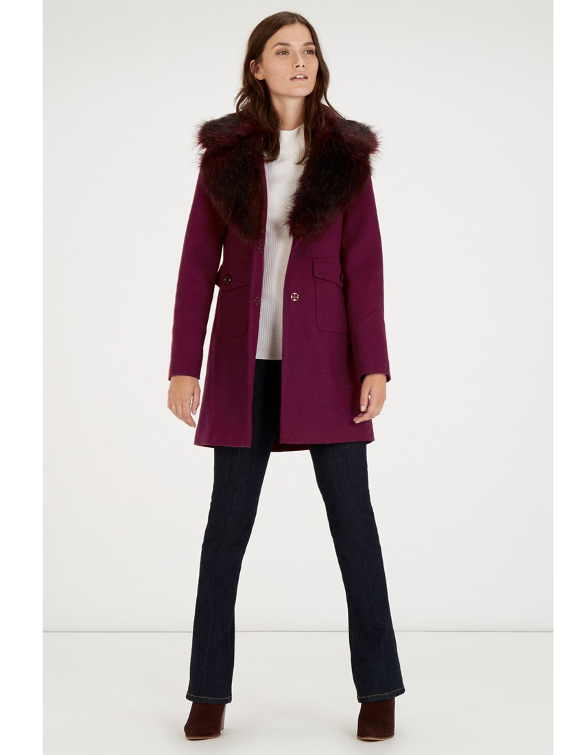 Warehouse Extreme Faux Fur Collar Coat in Purple | Lyst