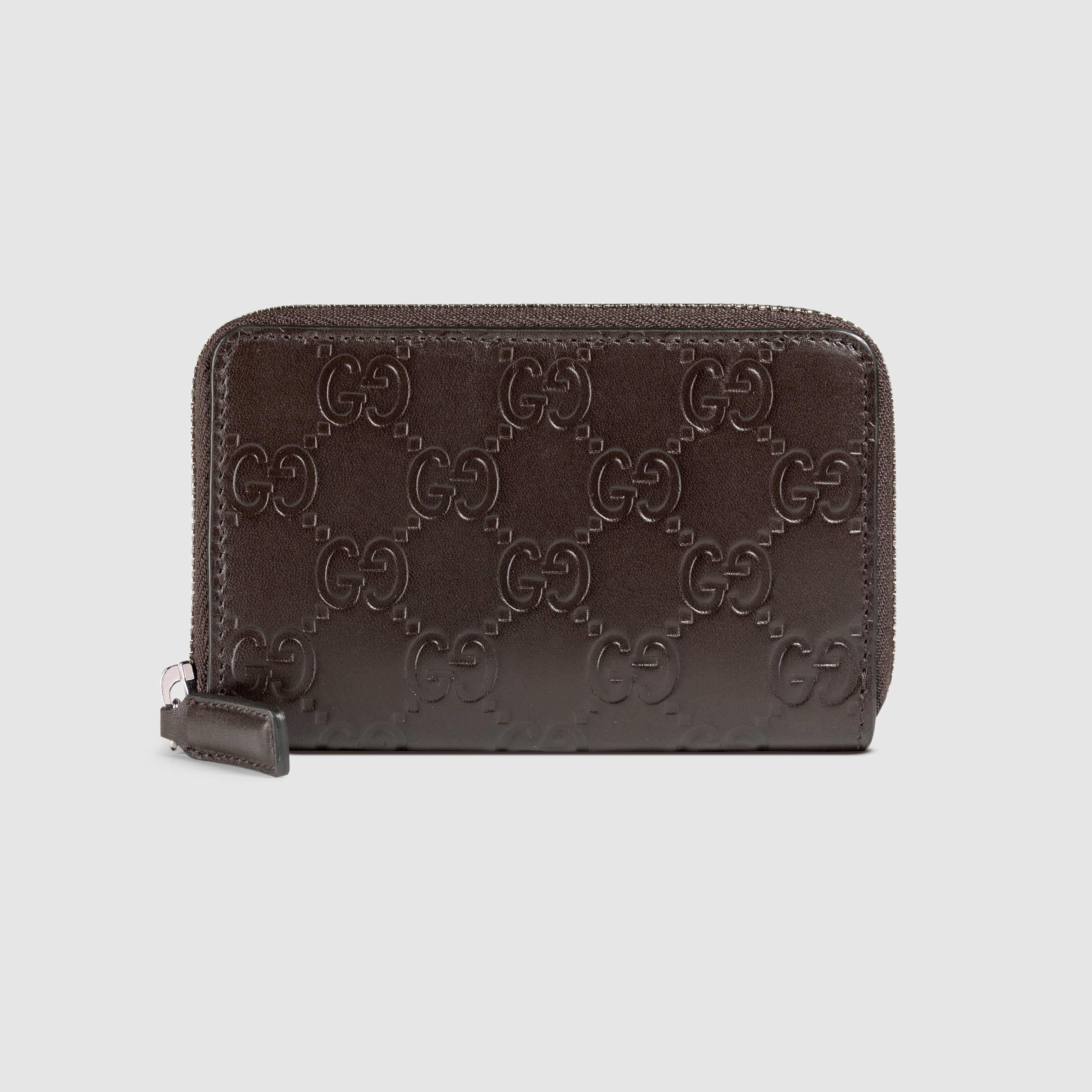 Lyst - Gucci Signature Zip Around Card Case in Black for Men