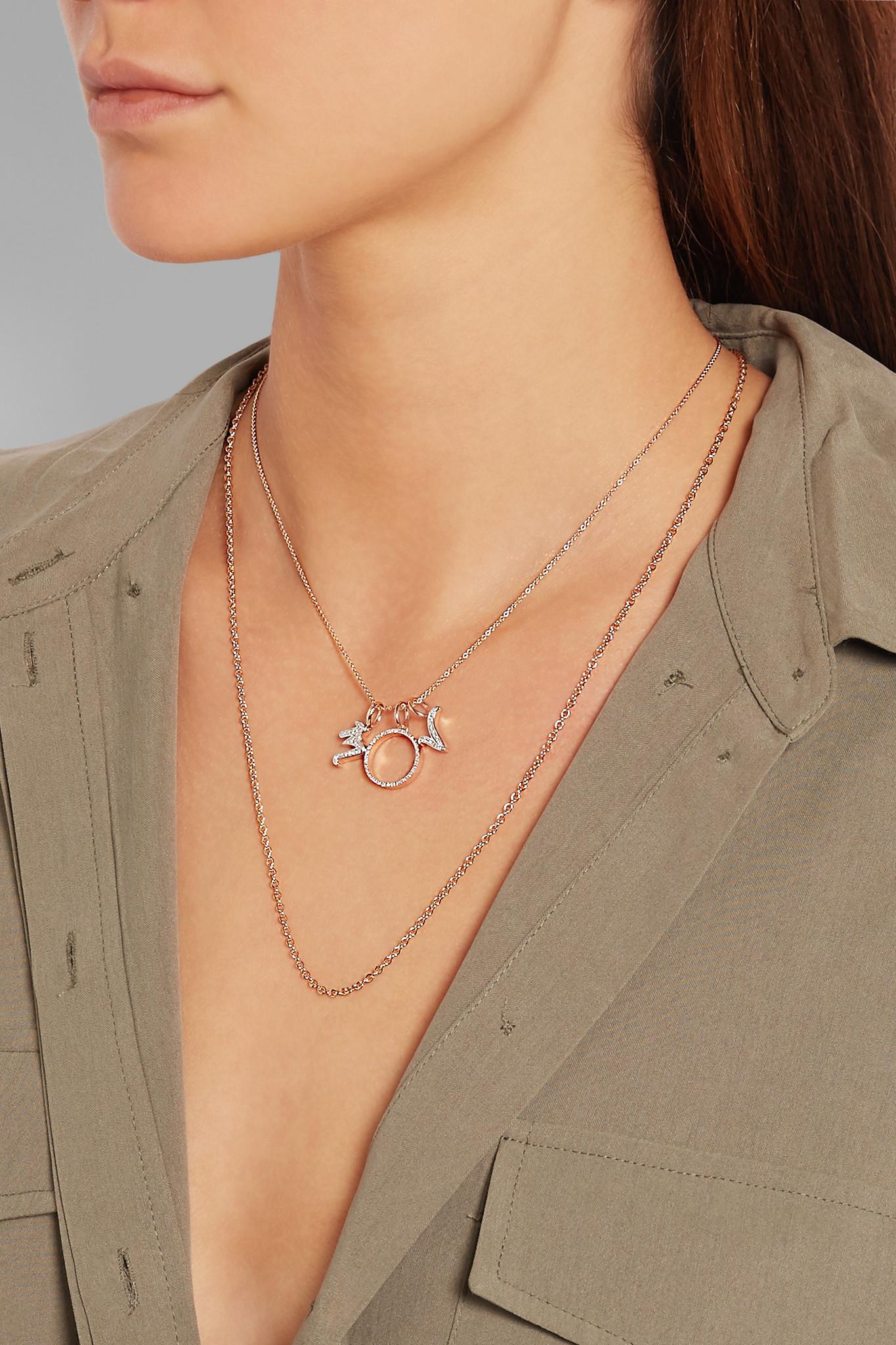 Rose Gold Diamond Alphabet Pendant S Diamond Monica Vinader icMaFukj7m