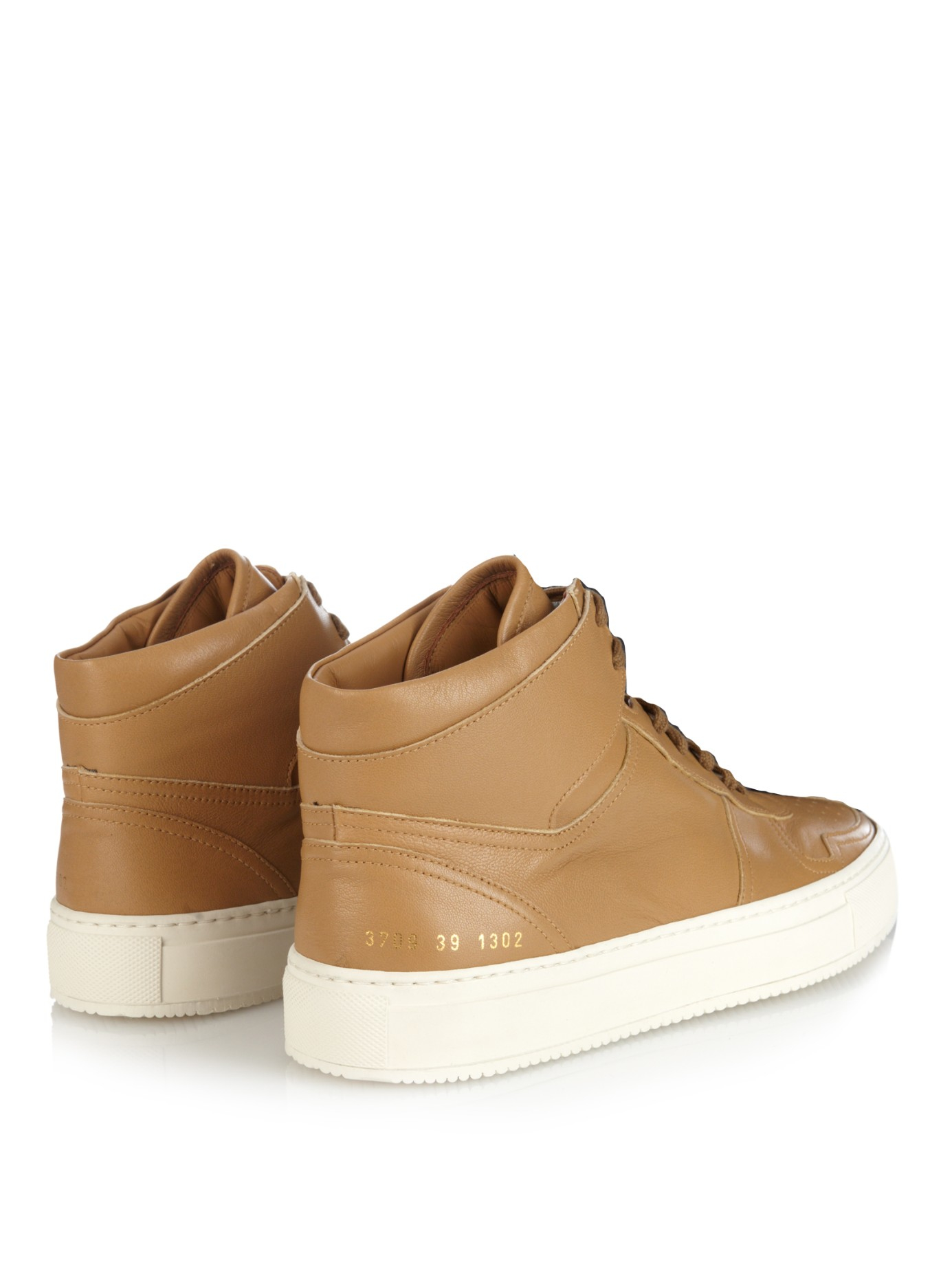 lyst common projects b ball leather high top sneakers in brown. Black Bedroom Furniture Sets. Home Design Ideas