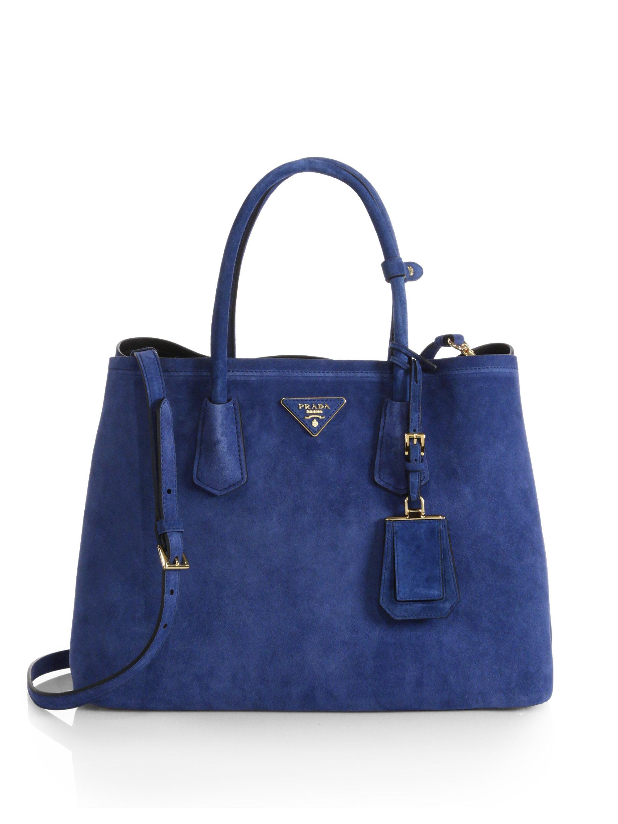 6641193fbc867 Prada Suede Double Bag in Blue - Lyst