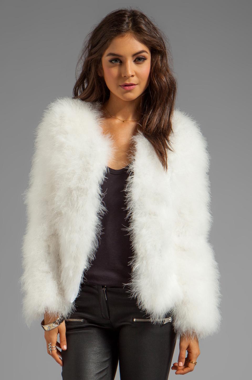 Lyst Line Amp Dot Marabou Faux Fur Jacket In White In White