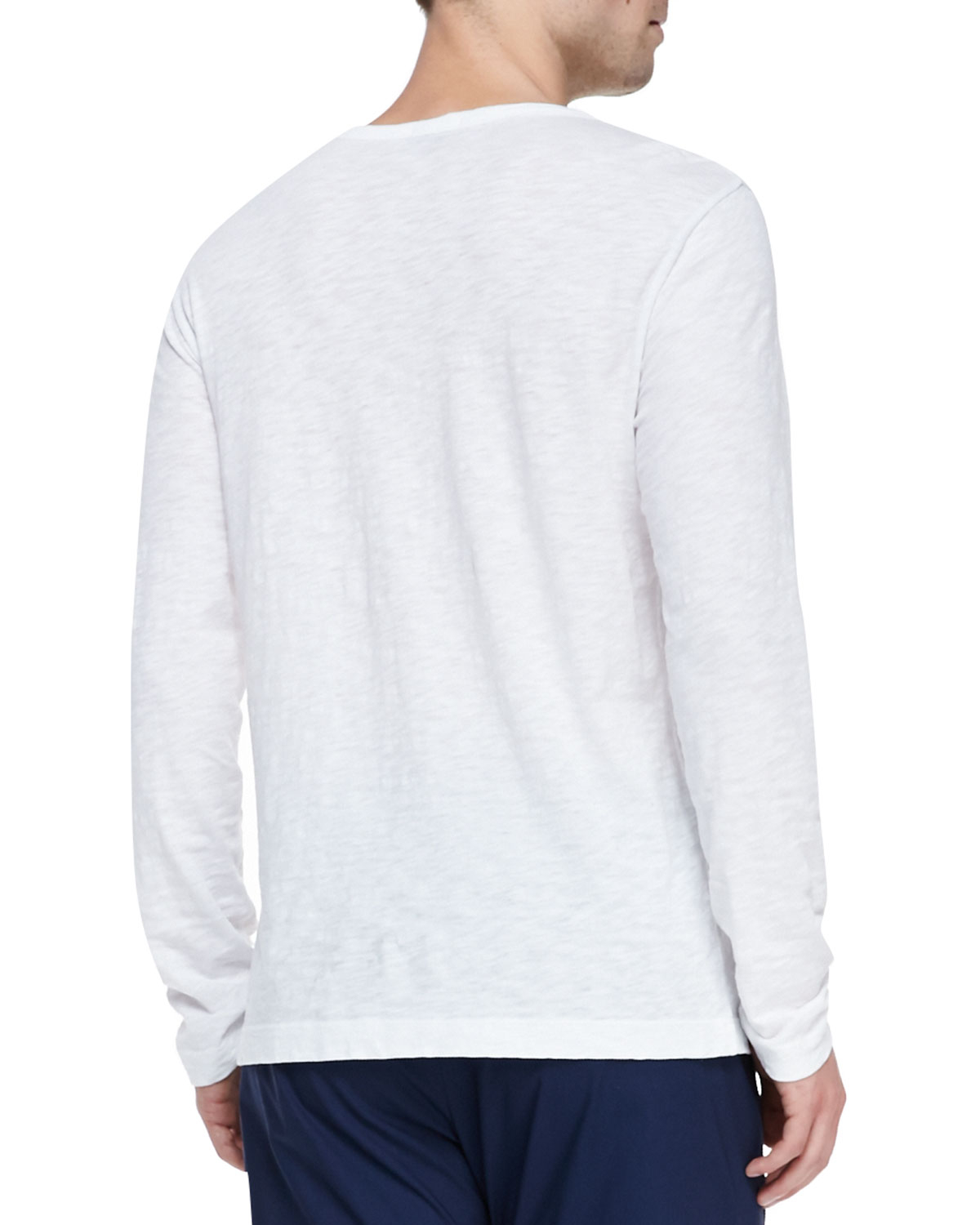 Lyst - Theory Long-sleeve Two-button Henley Shirt in White ...
