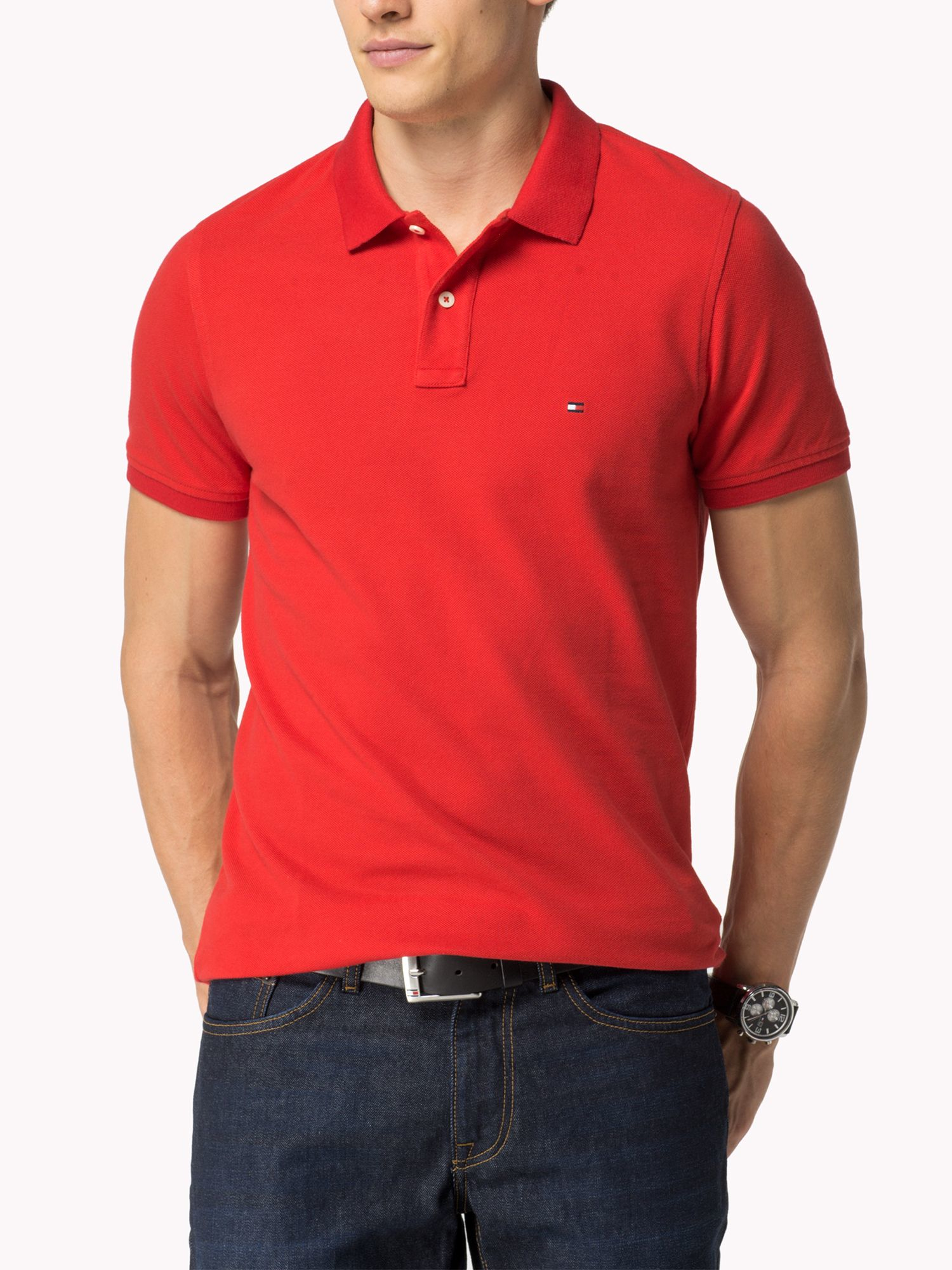 tommy hilfiger slim fit short sleeve polo shirt in red for men lyst. Black Bedroom Furniture Sets. Home Design Ideas