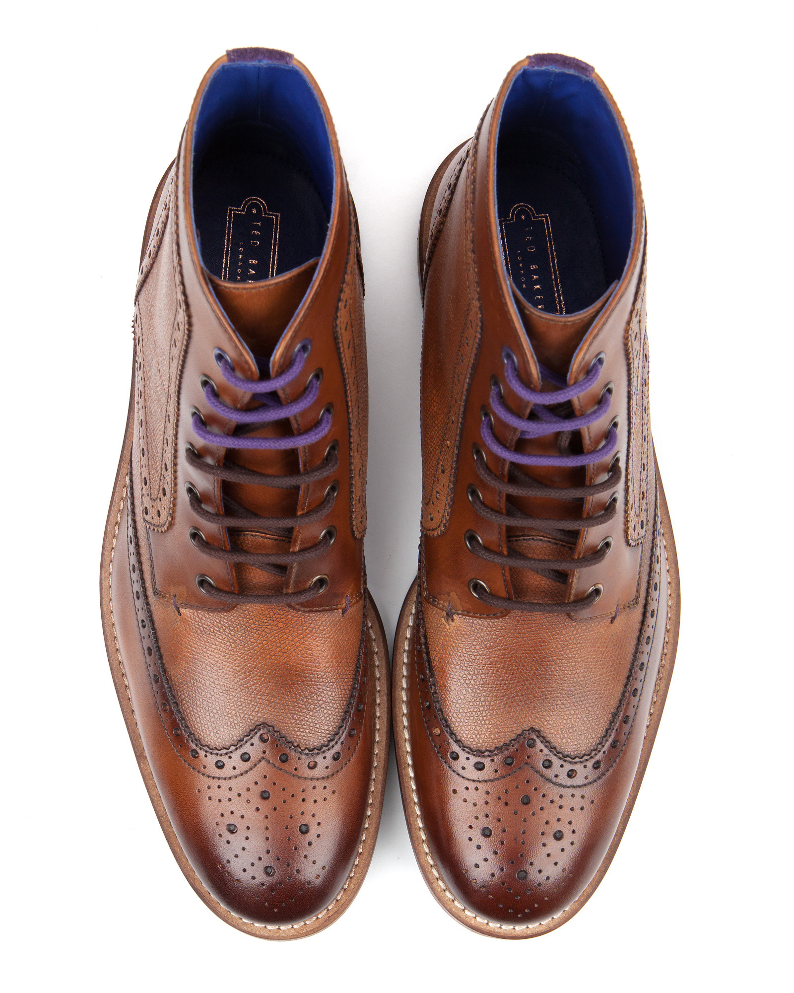 Lyst Ted Baker Leather Wingtip Brogue Ankle Boots In