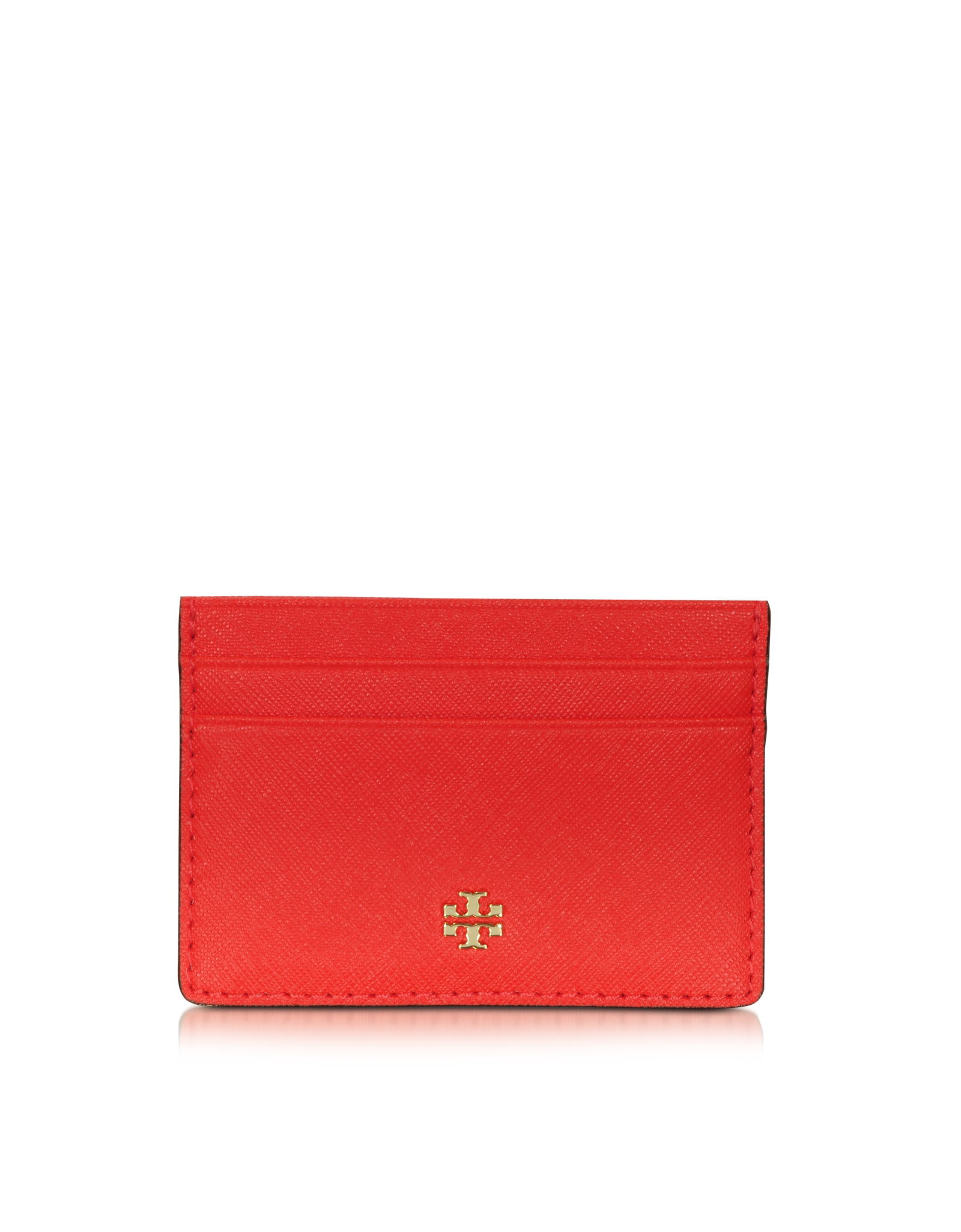 Tory Burch Robinson Slim Leather Card Case In Red Lyst