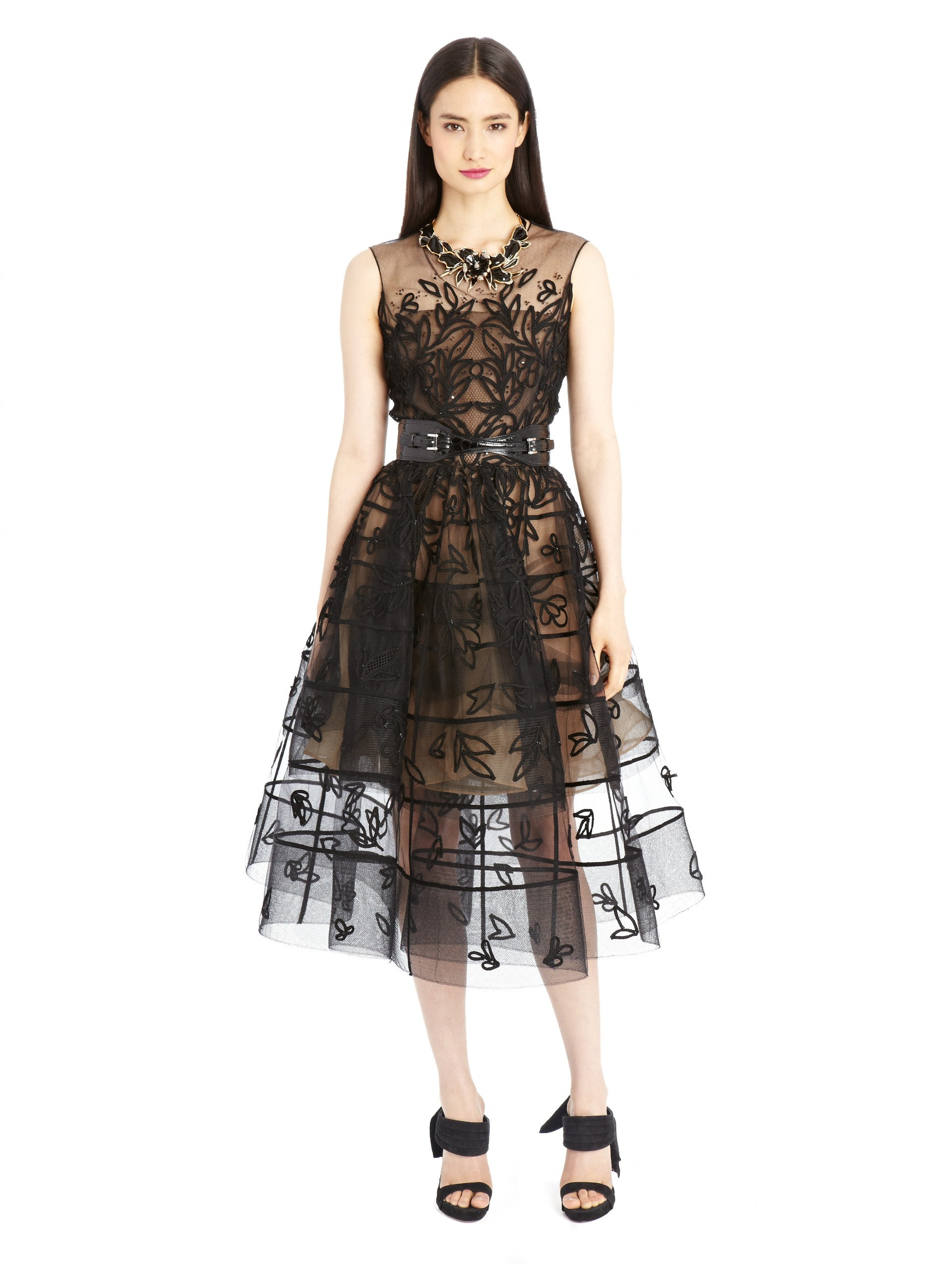 Lyst oscar de la renta leaf embroidered cage cocktail
