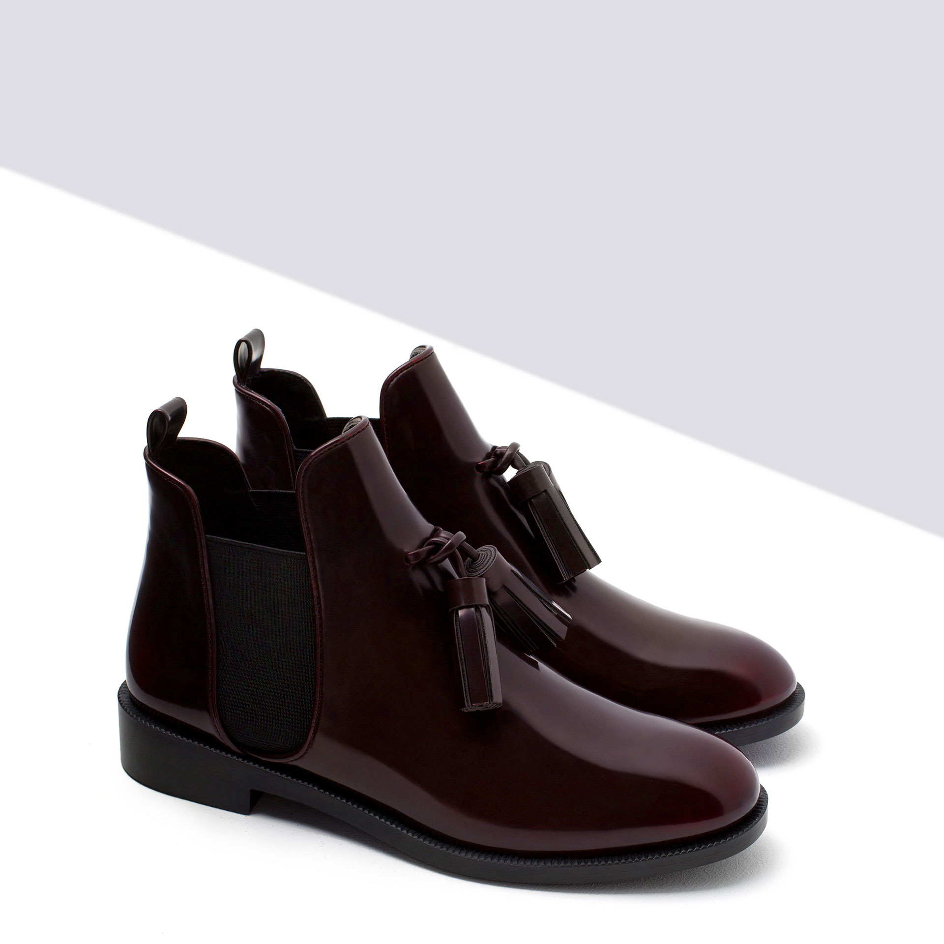 zara flat booties with tassel in purple burgundy lyst. Black Bedroom Furniture Sets. Home Design Ideas