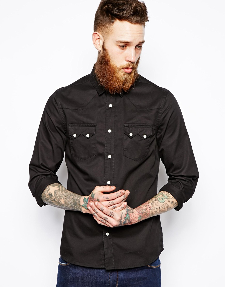 Asos Military Shirt In Black With Double Pocket In Regular Fit ...