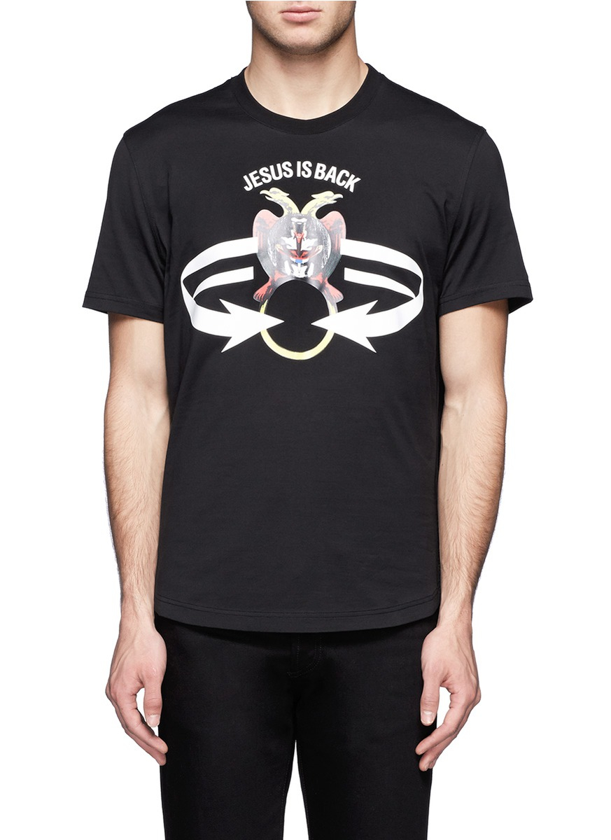 Givenchy Jesus Is Back Printed Cotton Tshirt In Black For