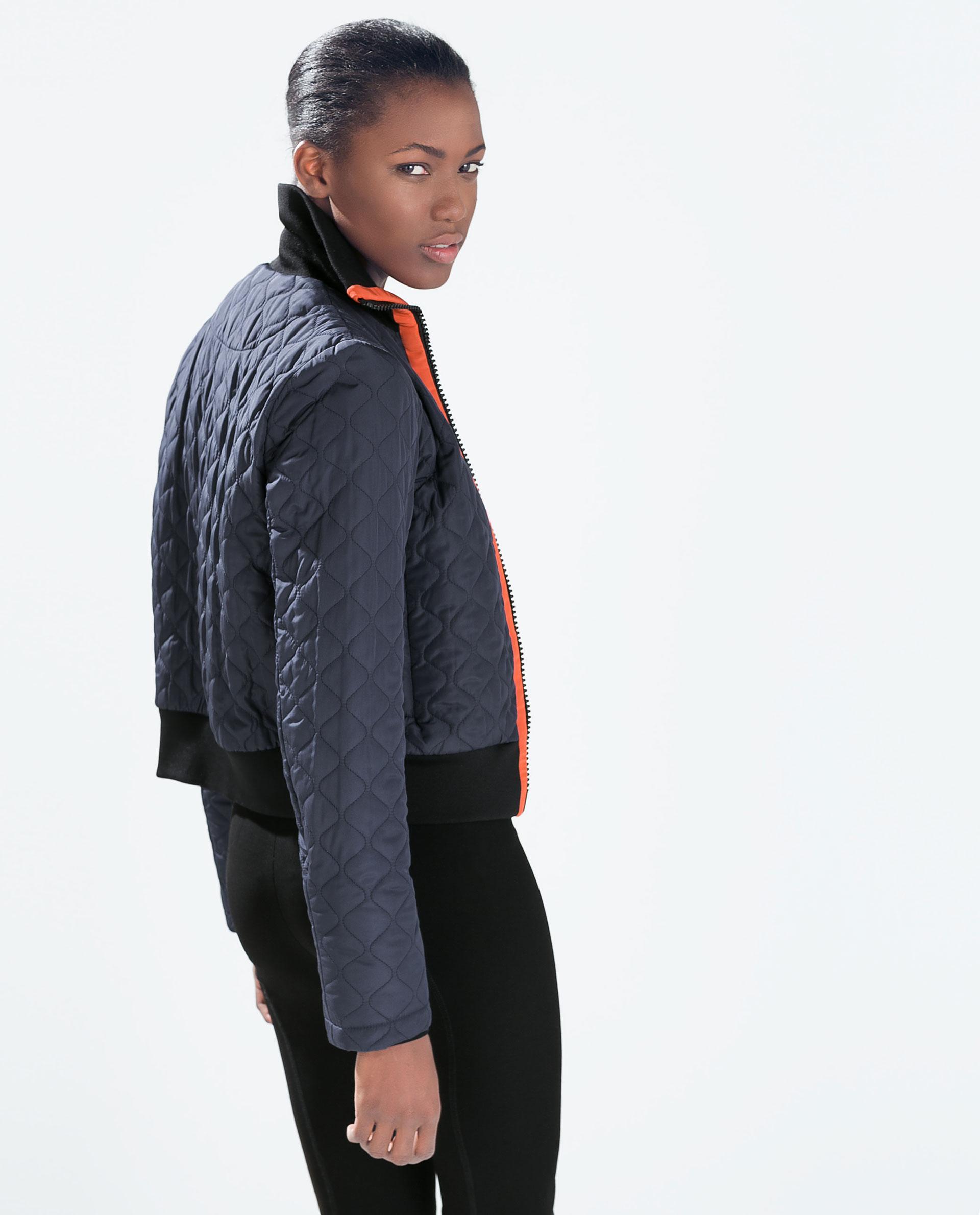Zara Short Quilted Jacket in Blue | Lyst