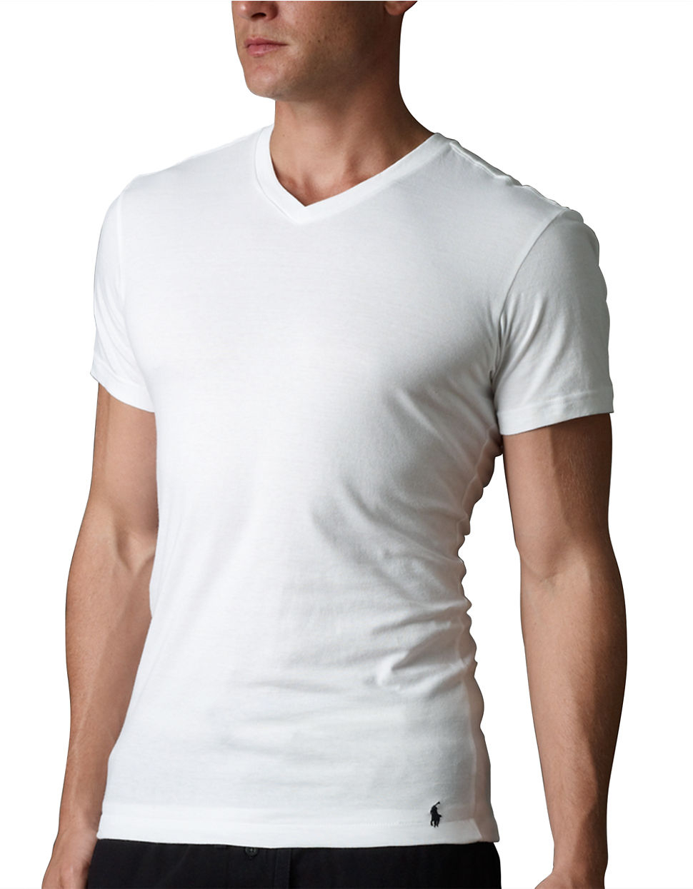 lyst polo ralph lauren slim fit v neck t shirt three pack in white for men. Black Bedroom Furniture Sets. Home Design Ideas