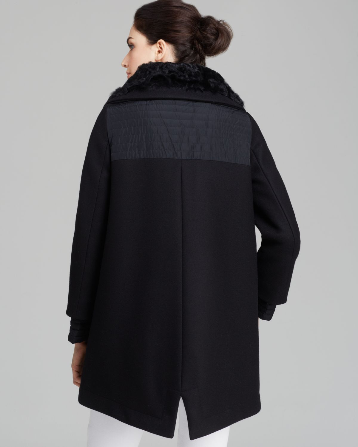 Moncler Coat - Eridan Wool Blend Down Lined in Black | Lyst