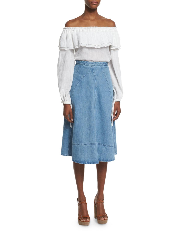 michael kors seamed denim flare skirt in blue lyst