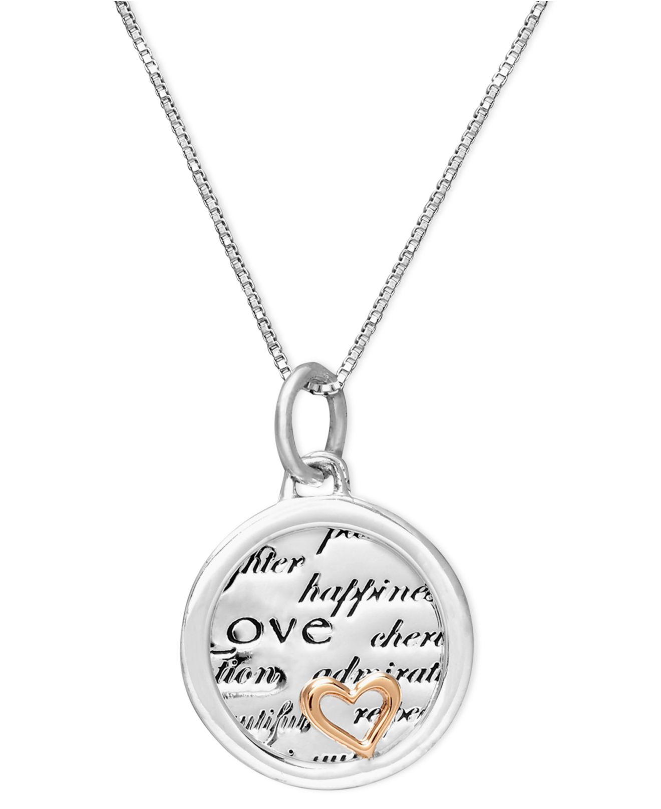 Macy's Inspirational Sterling Silver And 14K Gold Over ...