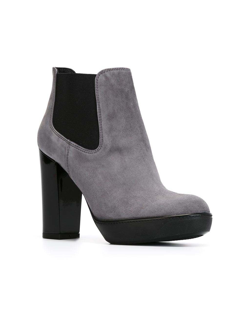 heeled suede boots in gray grey lyst