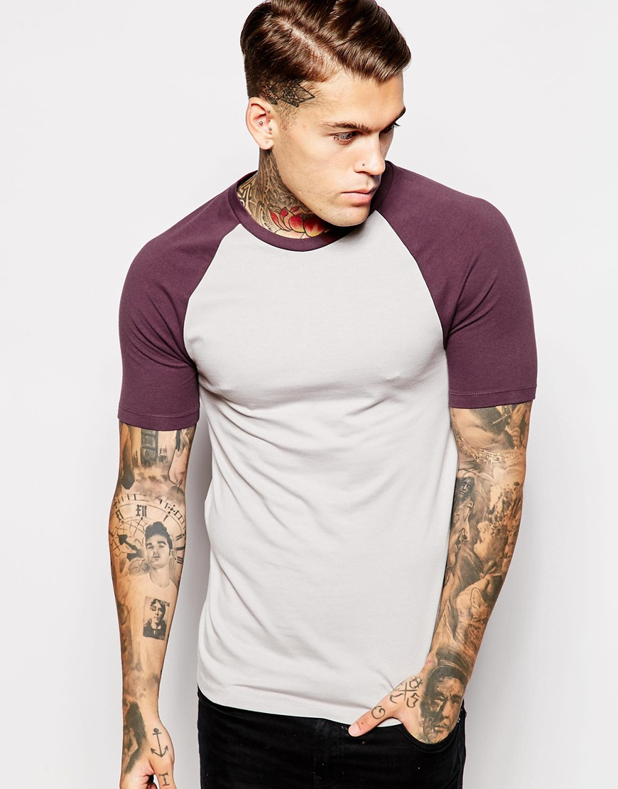 e34fb11ef ASOS Extreme Muscle Fit T-shirt With Contrast Raglan Sleeves And ...