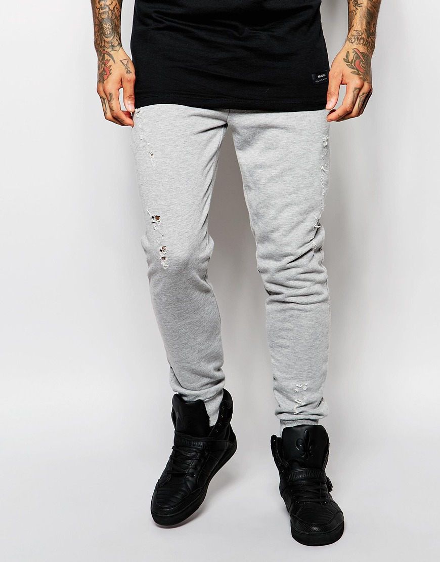 d0fb1887 Criminal Damage Distressed Joggers With Rips in Gray for Men - Lyst