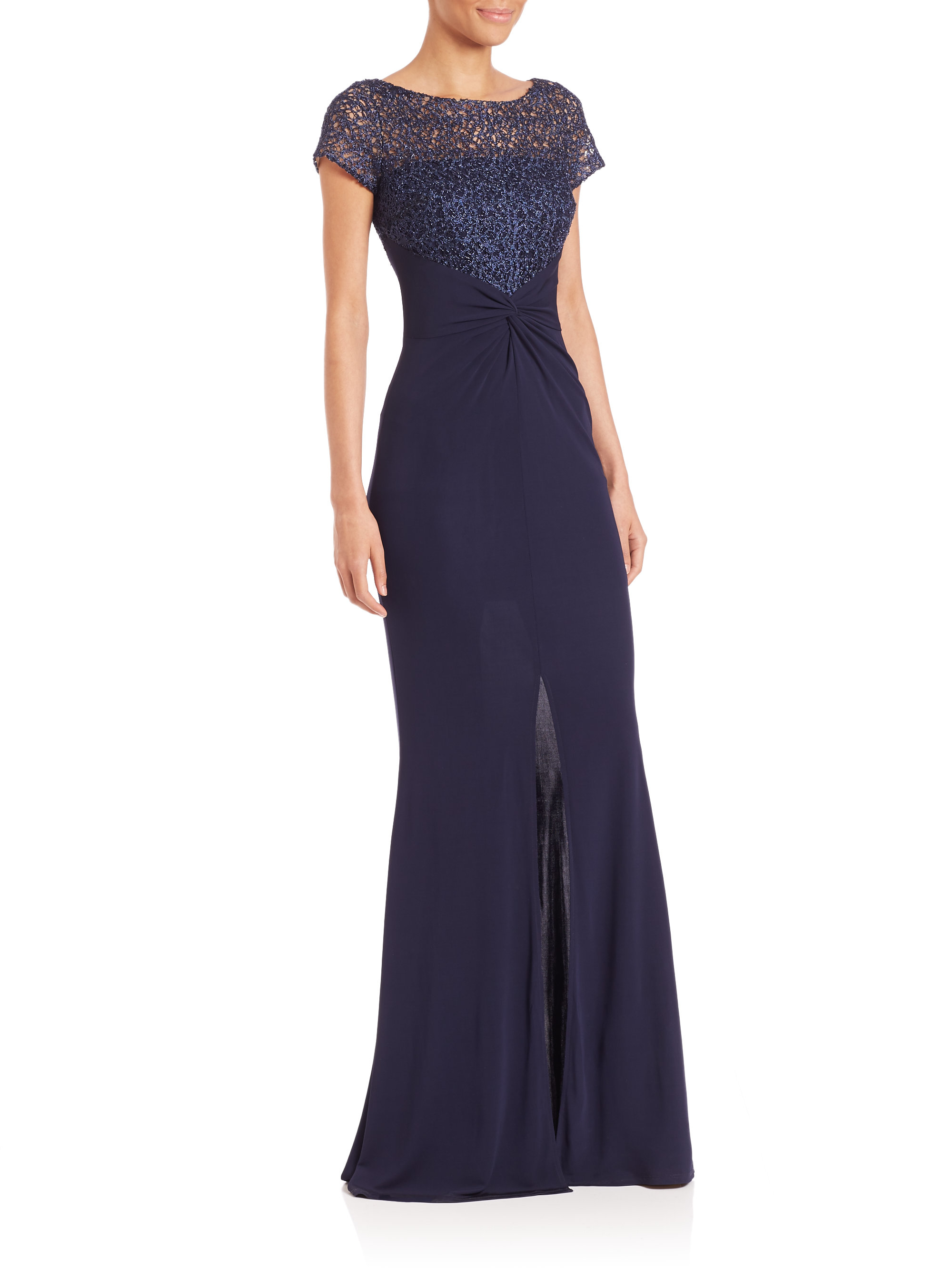Lyst - David Meister Lace-bodice Jersey Gown in Blue