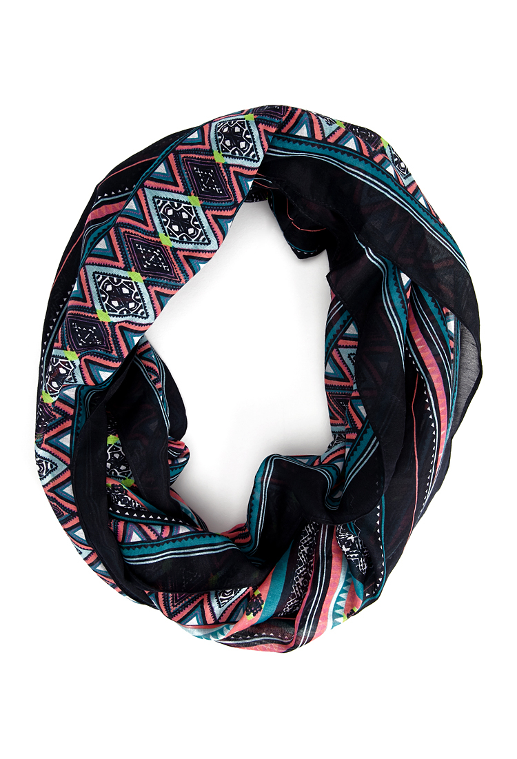 Forever 21 Eclectic Striped Infinity Scarf in Blue (Navy ...