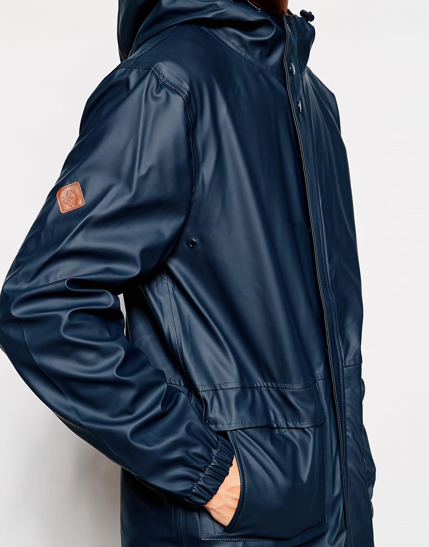 Bellfield Rain Jacket With Borg Lined Hood in Blue for Men | Lyst