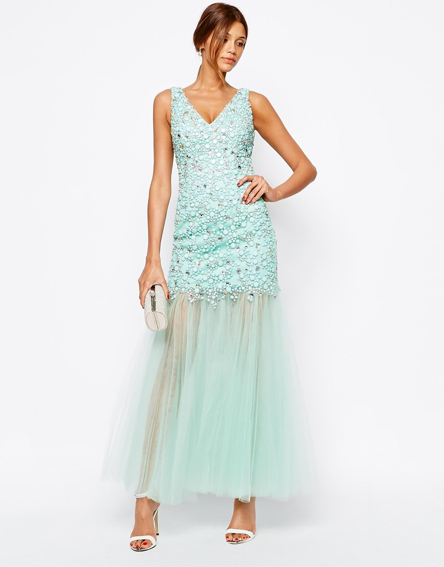 Forever Unique Roslyn Heavily Embellished Maxi Dress In
