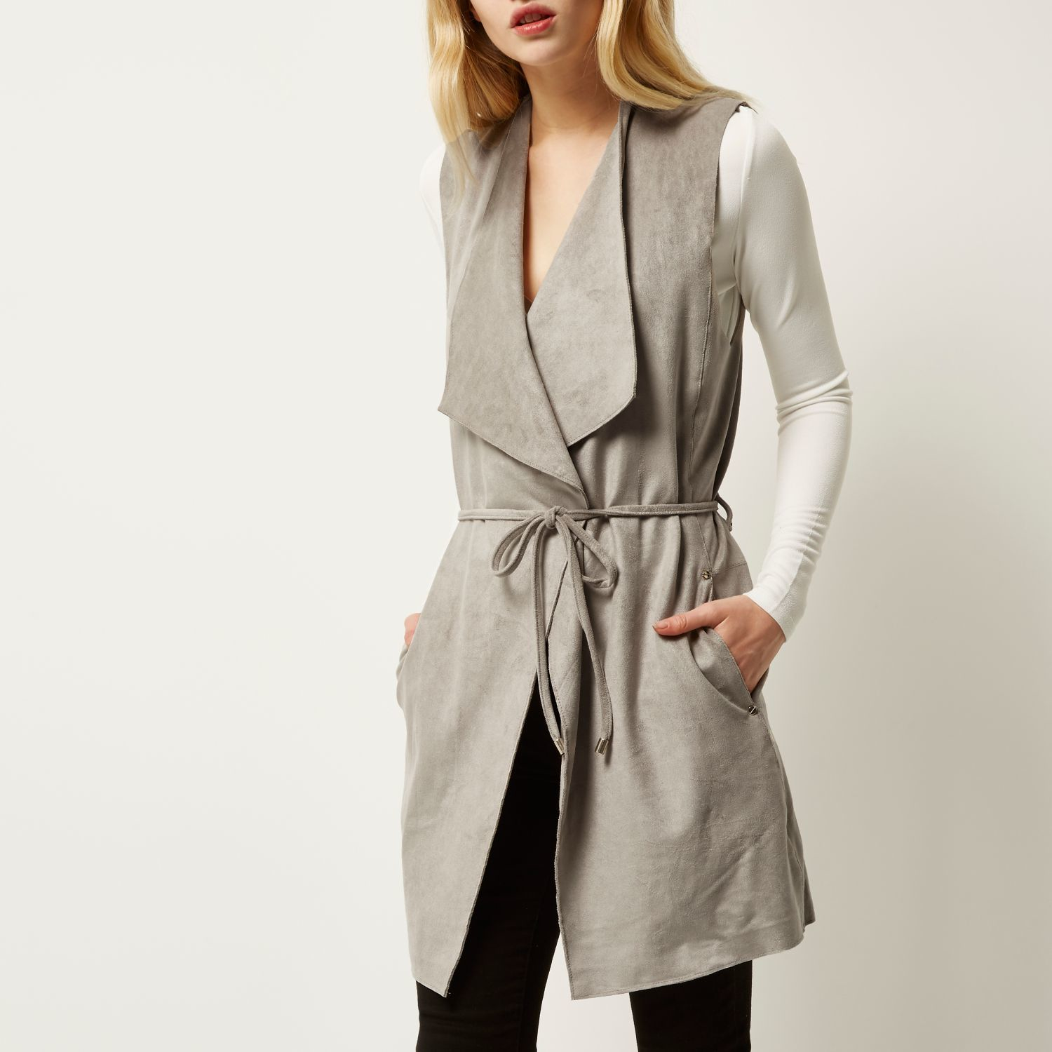 aa891bfb8e914 River Island Light Grey Faux Suede Sleeveless Jacket in Gray - Lyst