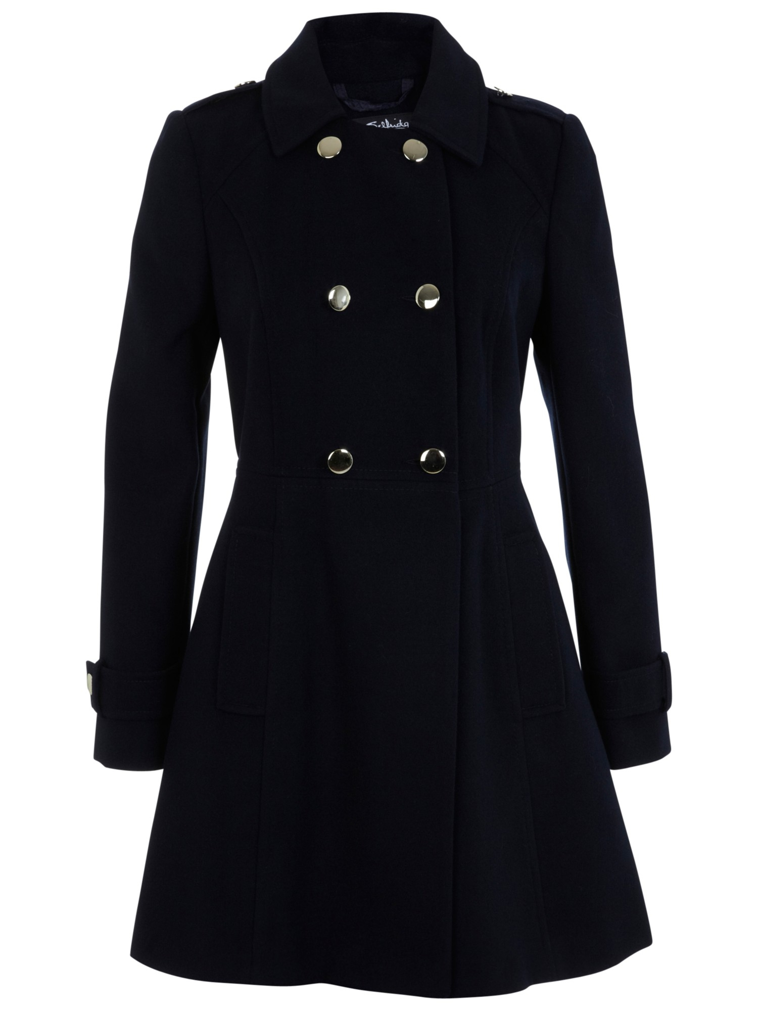 Miss selfridge Military Pea Coat in Blue | Lyst
