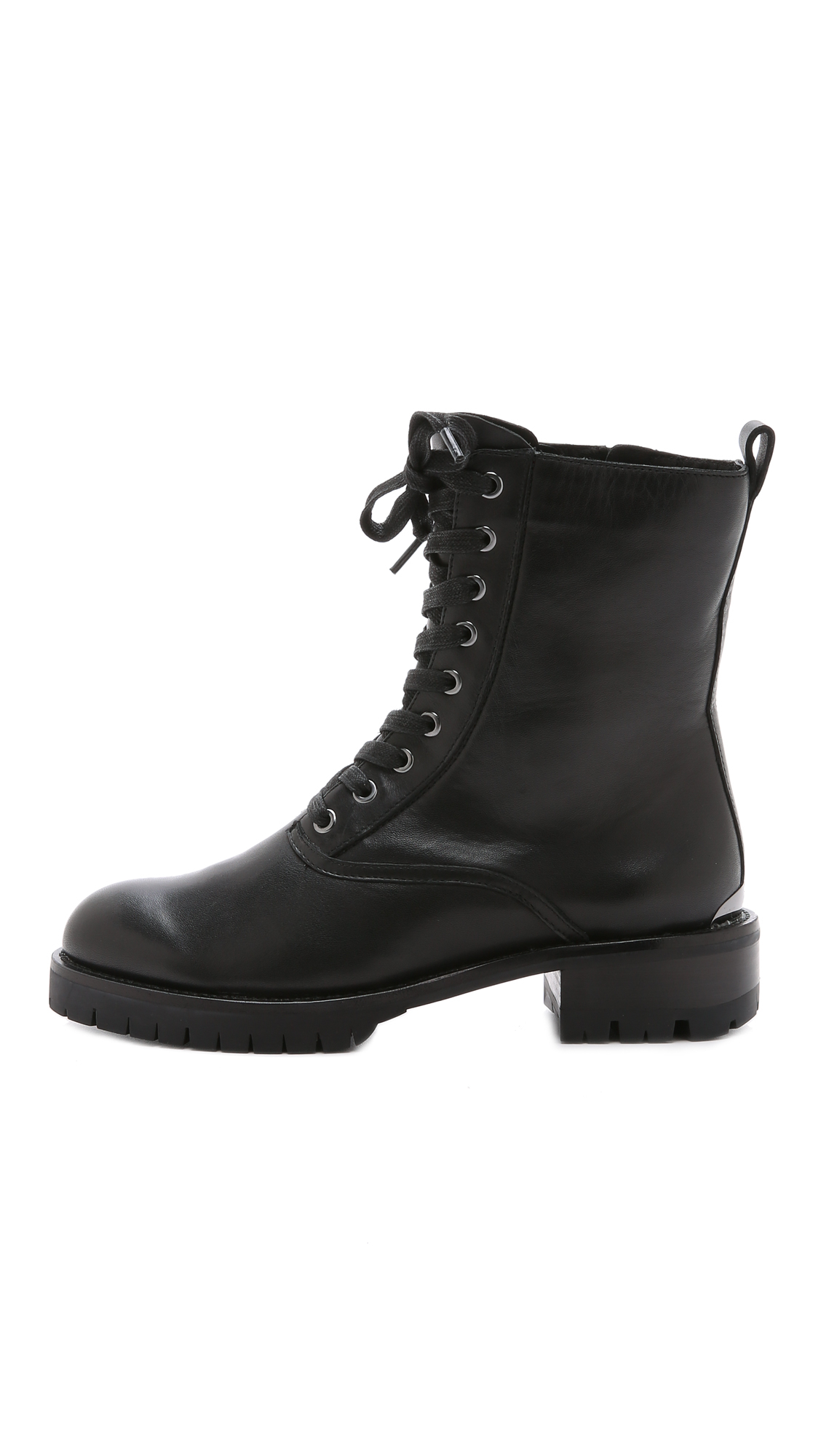 lyst dkny melissa lace up boots black in black