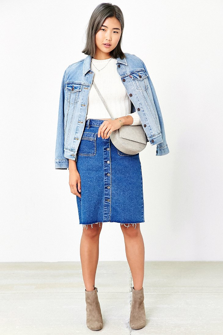 bdg button front denim pencil skirt in blue lyst