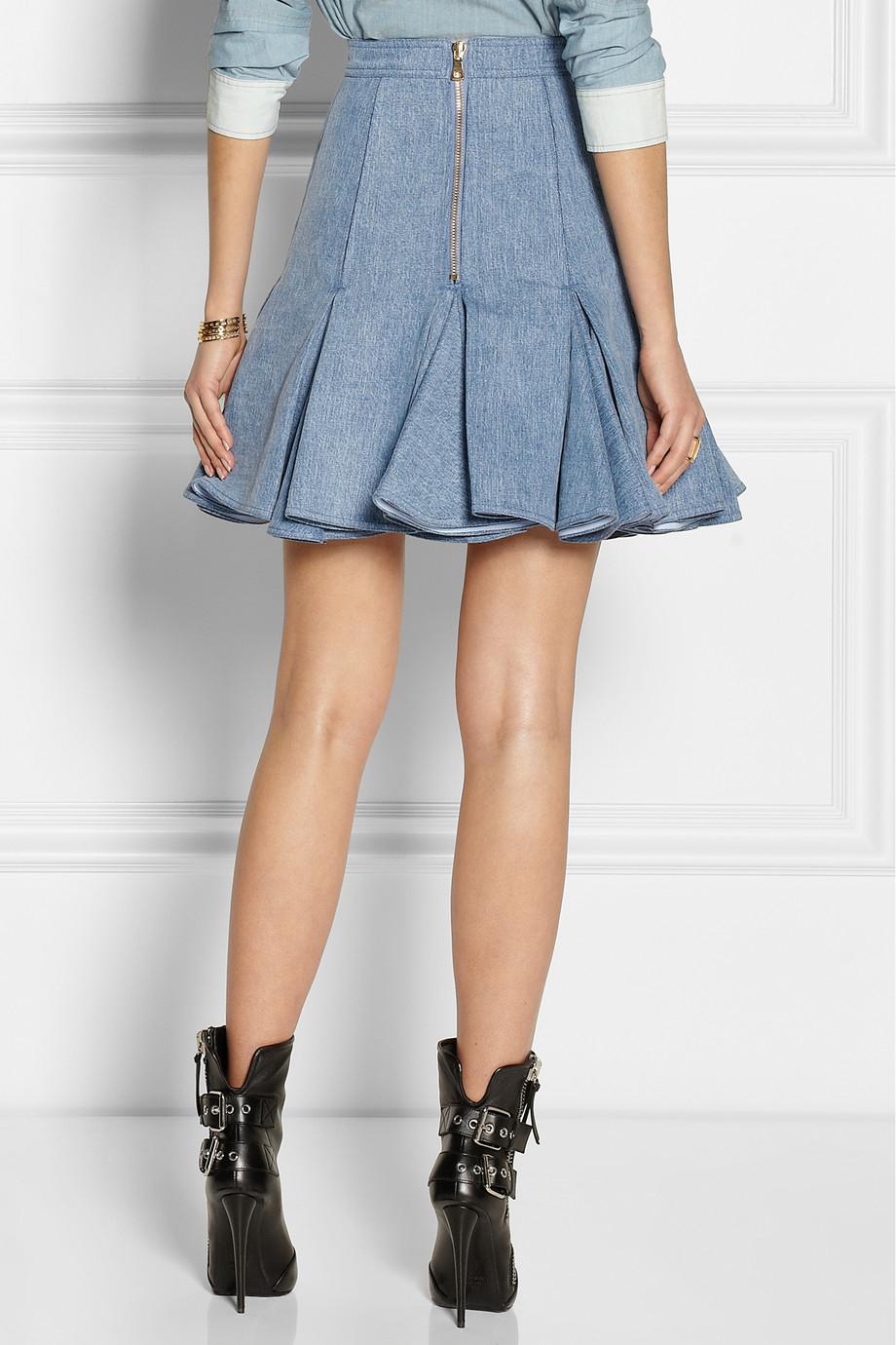 Balmain Pleated Denim Mini Skirt in Blue | Lyst