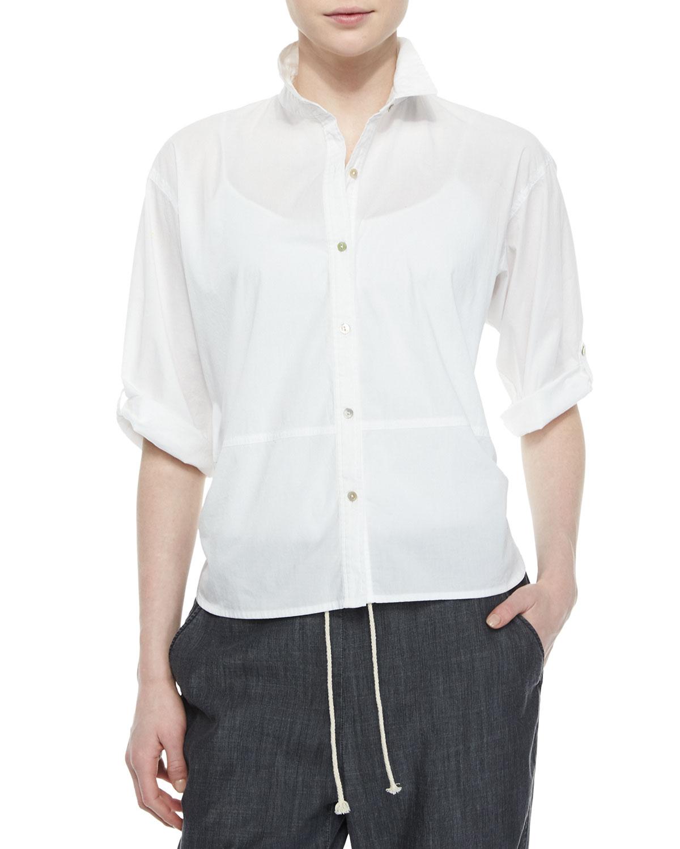 Lyst eileen fisher organic cotton tab sleeve shirt in blue for Eileen fisher organic cotton t shirt